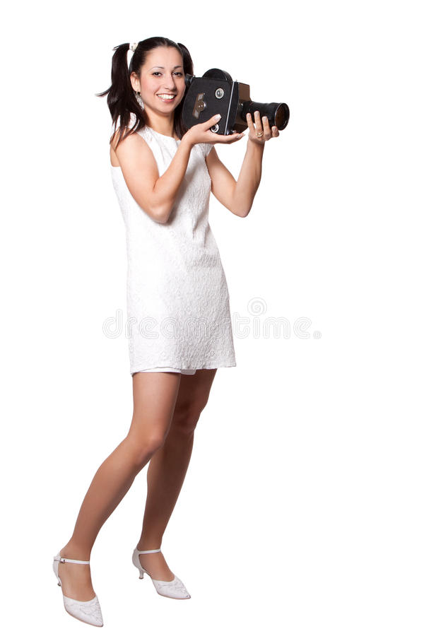 Download Retro Woman With An Old Camera Stock Image - Image of equipment, makeup: 31369727