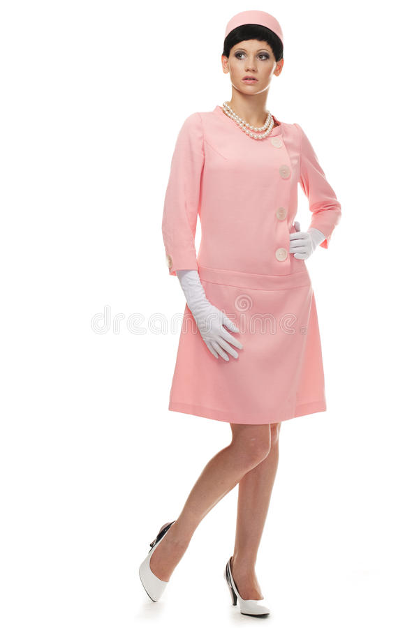 Retro Woman In Pink Dress 60s Stock Photo
