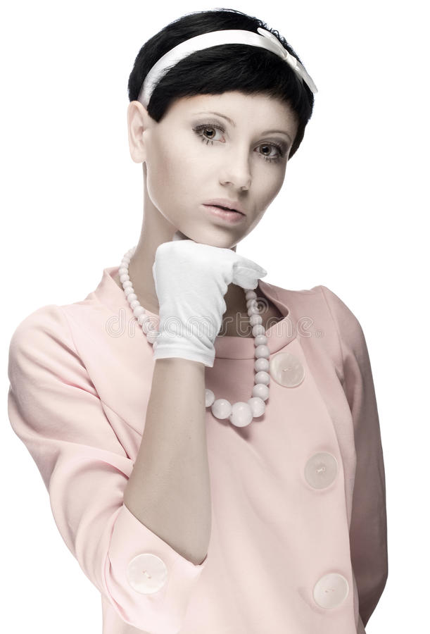 Download Retro Woman In Pink Dress 60s Stock Photo - Image: 15688870