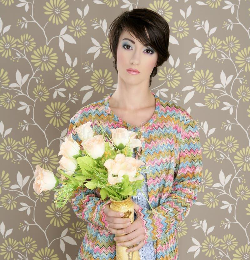 Retro woman portrait 60s fashion vintage stock images
