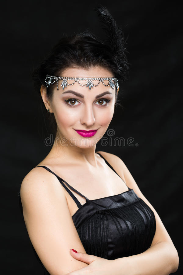 Retro Woman Portrait. Vintage Style Girl Wearing Old fashioned Hat and Gloves royalty free stock image