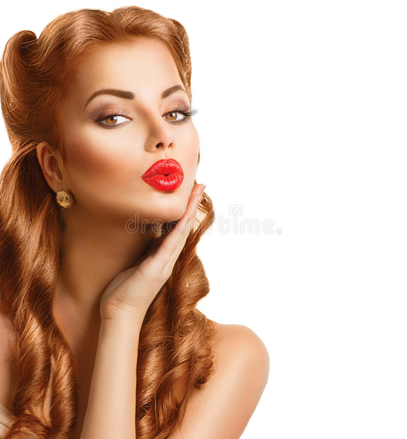 Retro woman with red hair royalty free stock photo