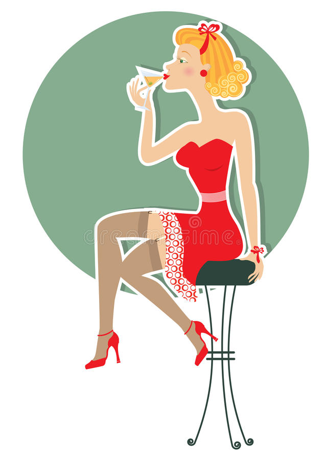 Download Retro Woman Is Sitting And Drinking Stock Vector - Image: 23129352