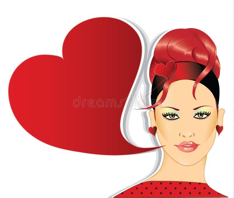Retro woman with speech bubble vector illustration