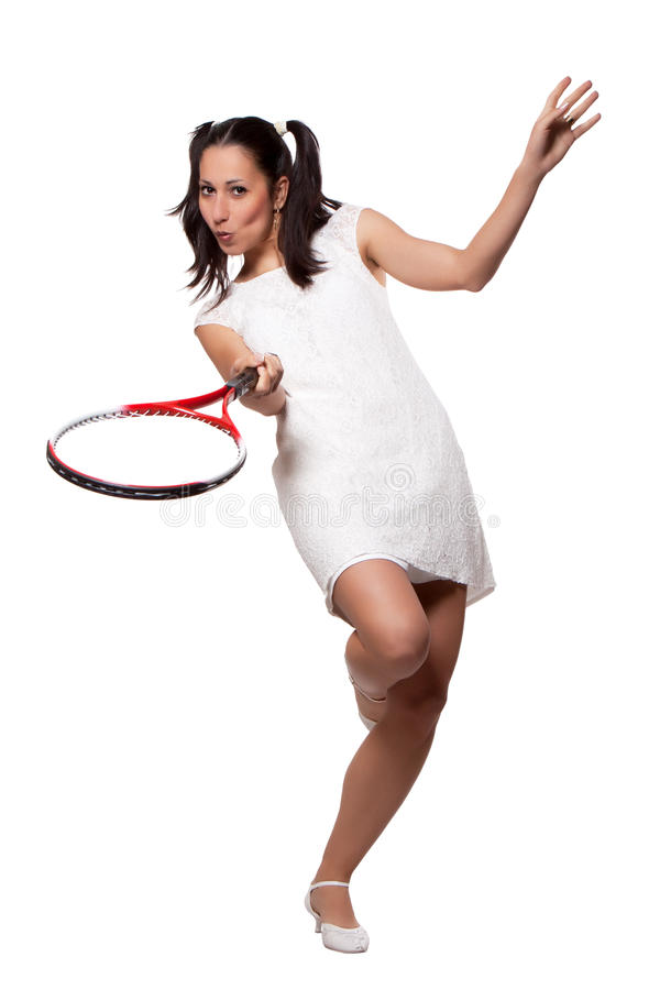 Download Retro Woman With A Tennis Racket Stock Photo - Image: 31369786