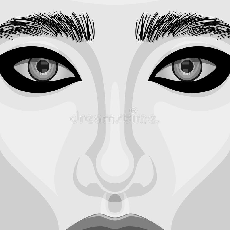 Retro Woman vector Portrait with Beautiful Eyes royalty free illustration