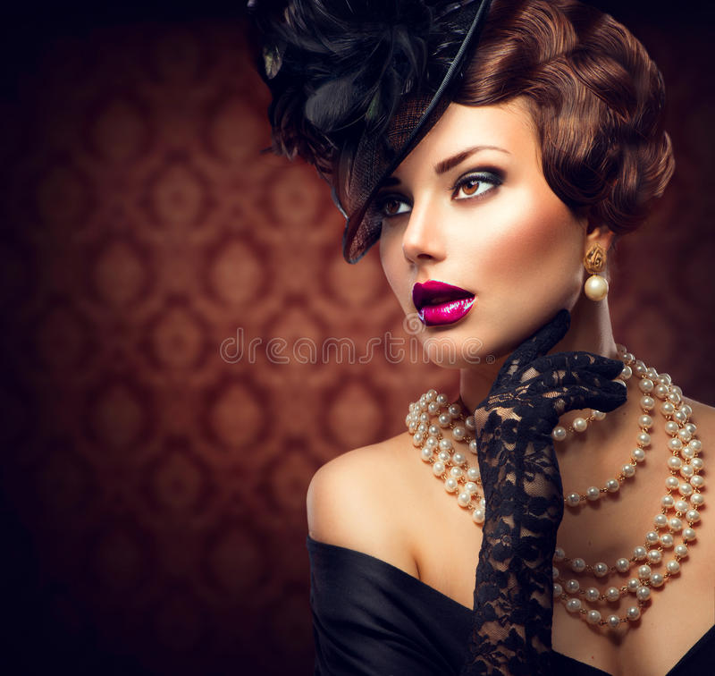 Retro Woman. Vintage Styled Girl royalty free stock photography