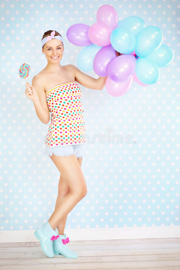Free Retro Woman With Lollipop And Balloons Royalty Free Stock Photo - 37655885
