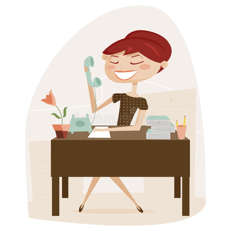 Download Retro woman working stock vector. Illustration of design - 17737830