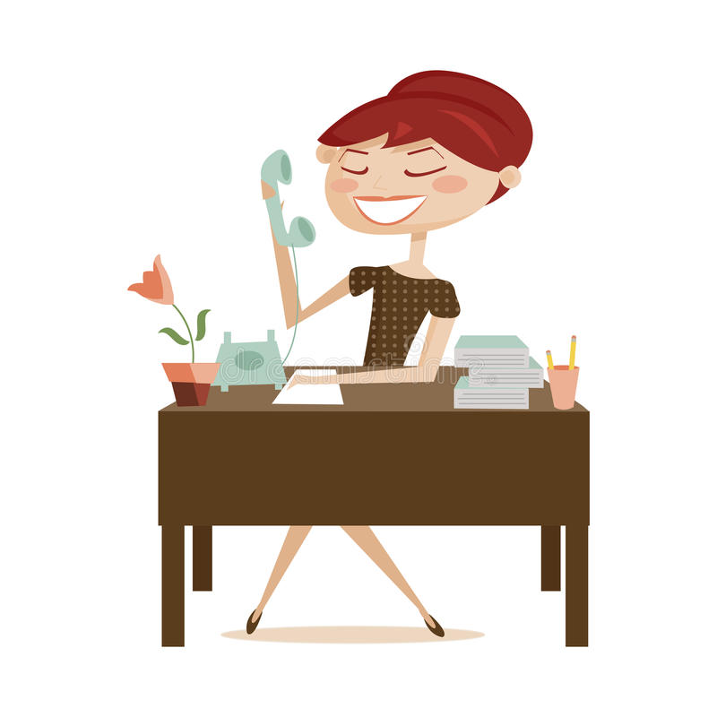 Retro woman working, isolated vector illustration