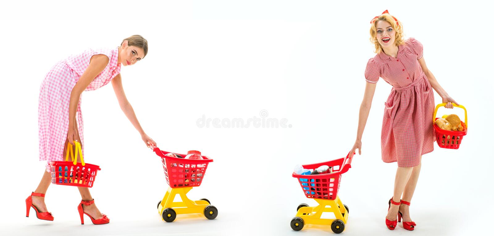 Retro women go shopping with full cart. savings on purchases. online shopping app. happy shopping girls with full cart. Vintage housewife women going to make royalty free stock photos