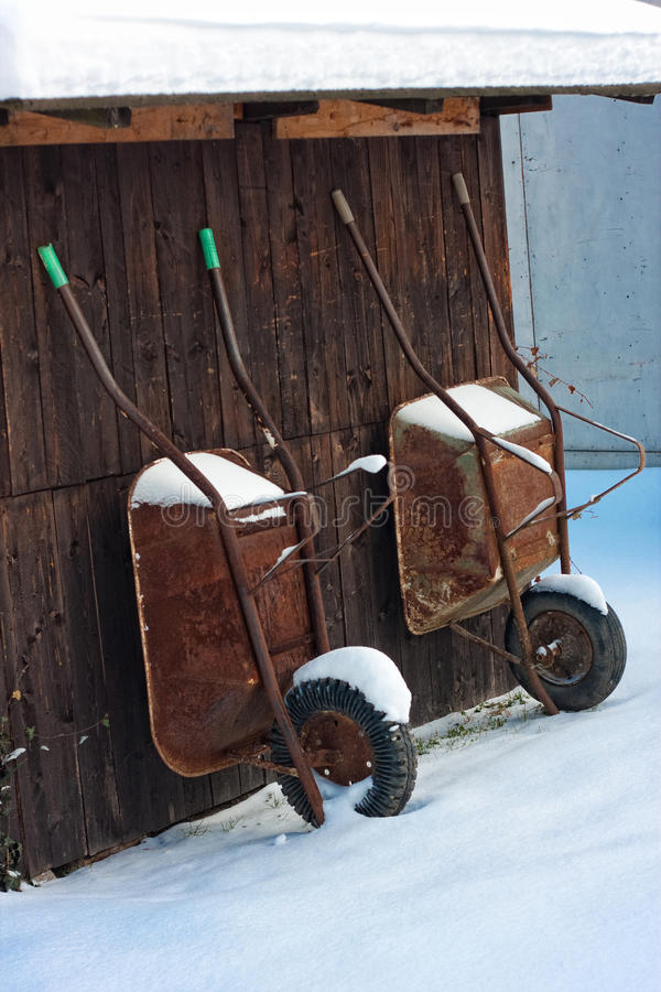 Download Retro Wood Shed With Two Wheelbarrow Stock Photo - Image: 18048756