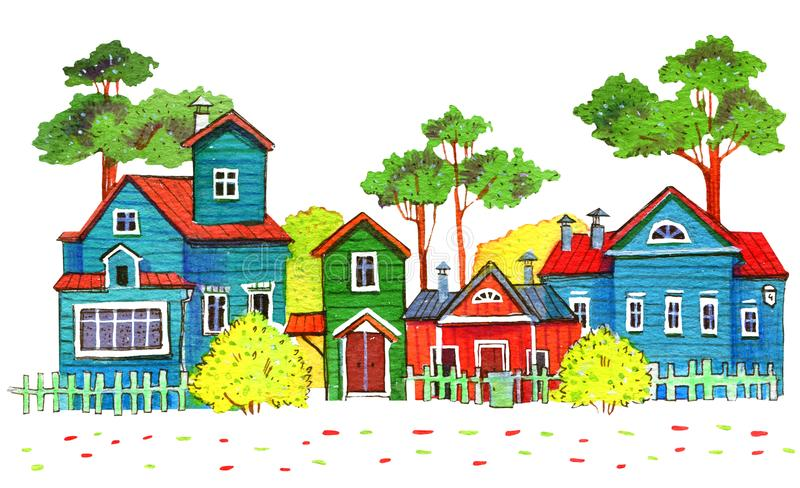 Retro wooden houses in a village. Hand drawn cartoon watercolor illustration stock illustration