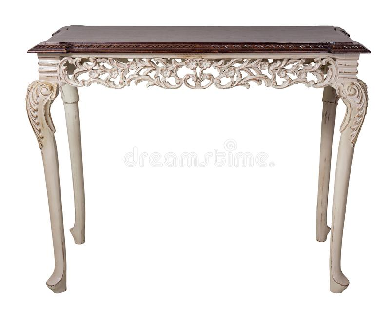 Retro wooden vintage table with dark brown top and beige painted legs isolated on white background including clipping path stock photos