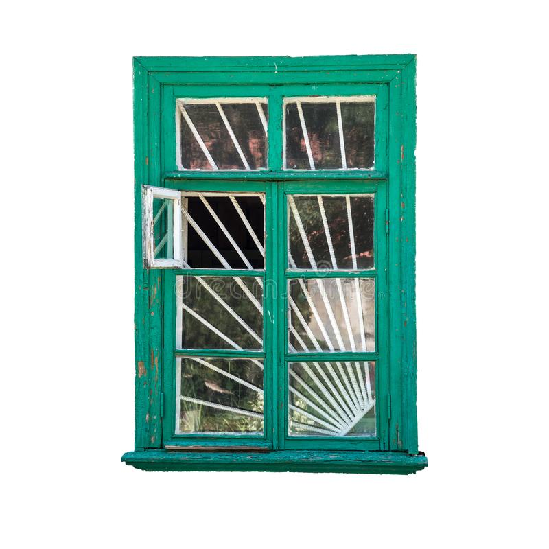 Retro wooden window, green color, isolated on white background with clipping path, elements for design. Old, object, template, leaf, cut, out, decor, lattice royalty free stock image