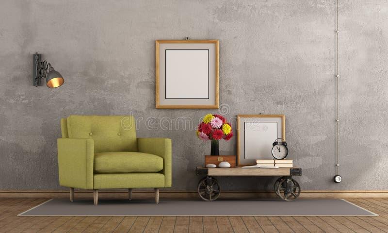 Retro Woonkamer stock illustratie. Illustratie bestaande uit elegant ...