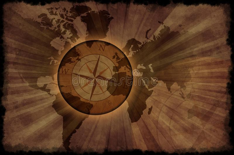 Retro World Map. Vintage World Map with Compass Rose. Grunge Browny Background ( Old Paper Style ) Black Grunge Edges royalty free stock photo