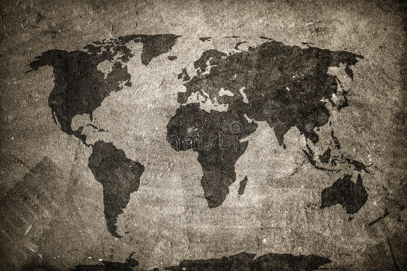 Retro world map on concrete plaster wall vintage grunge download retro world map on concrete plaster wall vintage grunge background stock gumiabroncs Choice Image