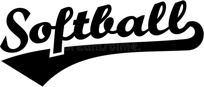 Retro- Wort des Softballs lizenzfreie abbildung