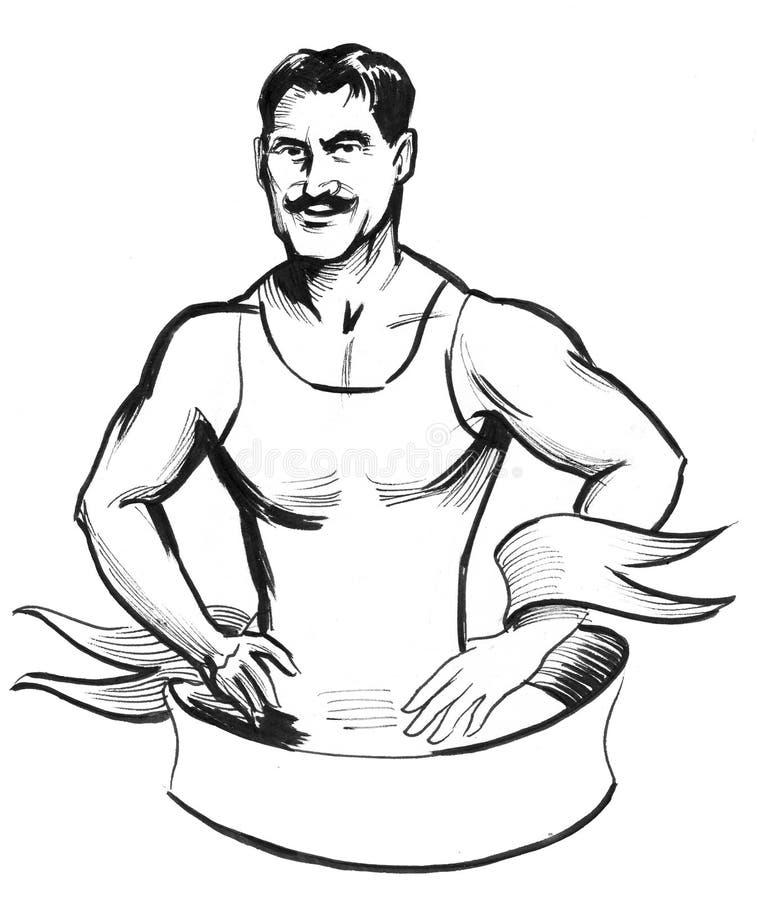 Retro wrestler stock illustration