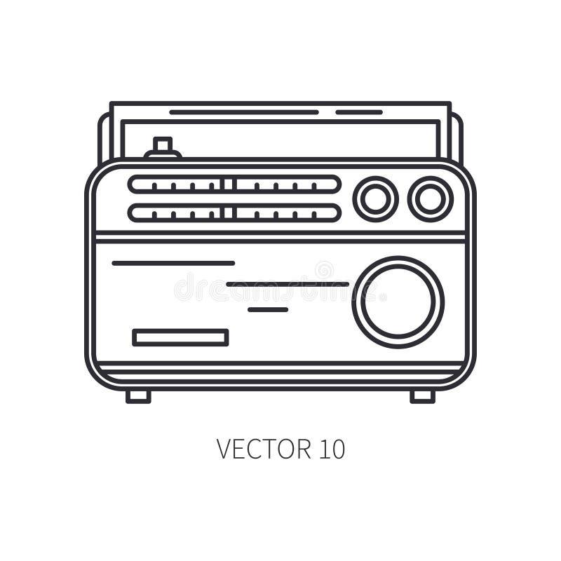 Retro wyemitowana fm radia tuneru wektoru linii ikona Lato podróży wakacje, turystyka, obozuje 1960s styl stary ilustracji