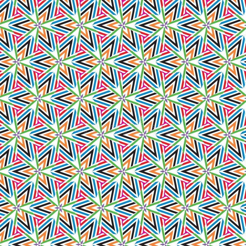 Retro wystrzał sztuka Barwi trójbok gwiazd strzała Geometrycznego wzór royalty ilustracja