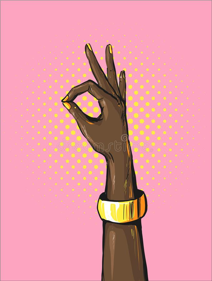 Retro wystrzał sztuki kobiety afrykańska ręka pokazuje OK znaka z złotej bransoletki komiczki stylu Jaskrawym plakatem z Zadowala royalty ilustracja