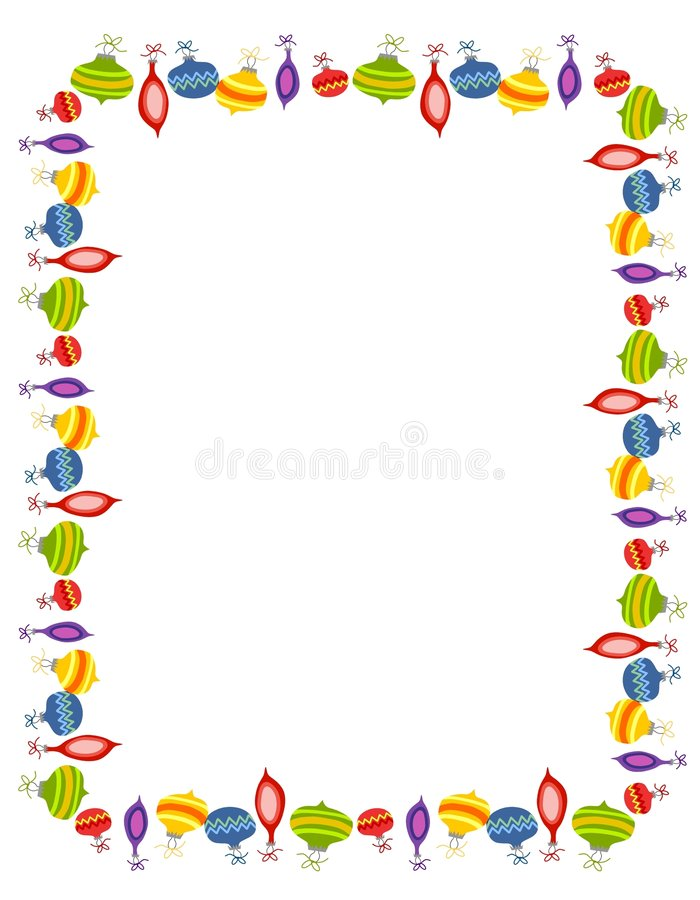 Retro Xmas Ornaments Border royalty free illustration