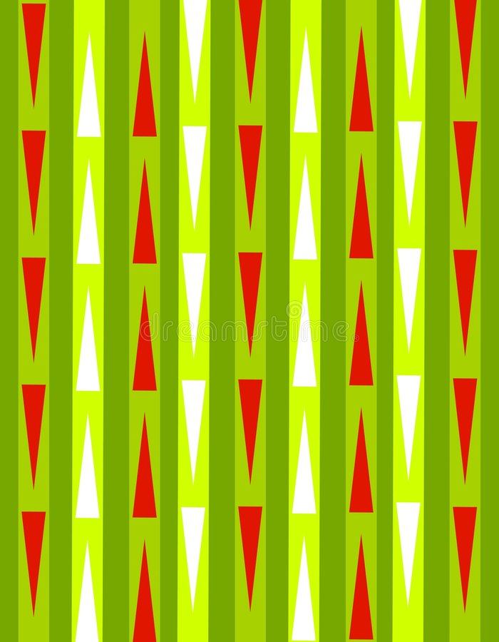 Retro Xmas Paper Background. A background pattern featuring retro stripes and triangles in festive Christmas colors royalty free illustration
