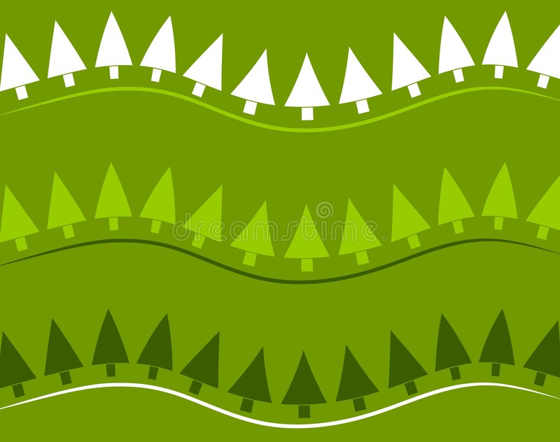 Retro Xmas Tree Background. A background pattern featuring green and white Christmas trees as retro-style stripes vector illustration