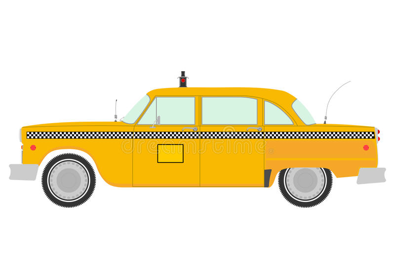 Retro yellow cab silhouette. Yellow cab retro silhouette on a white background royalty free illustration