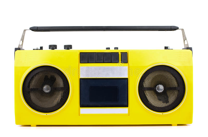 Retro yellow ghetto blaster. On white with clipping path royalty free stock photography