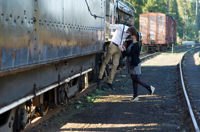 Download Retro Young Love Couple Vintage Train Setting Stock Photo - Image: 31808514