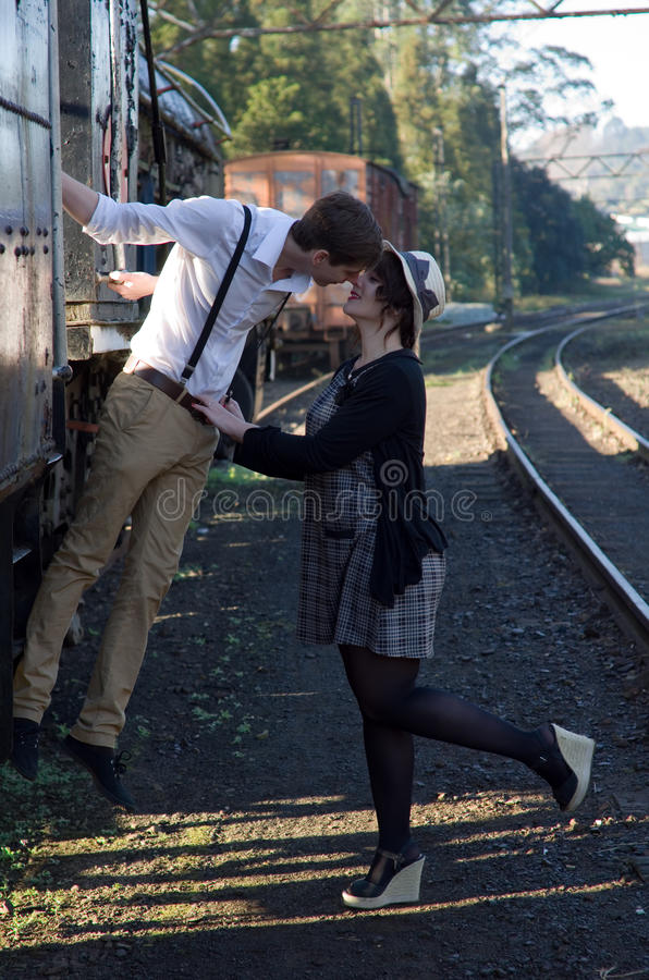 Download Retro Young Love Couple Vintage Train Setting Stock Photo - Image of kissing, romantic: 31808518