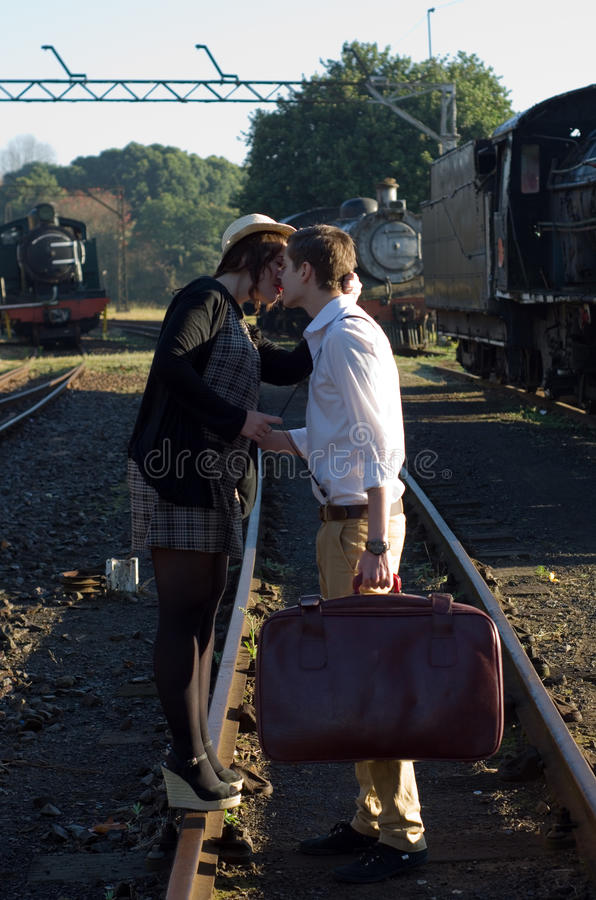 Download Retro Young Love Couple Vintage Train Setting Stock Image - Image: 31808523