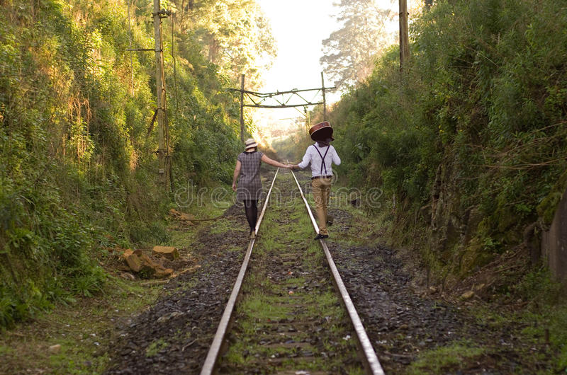 Download Retro Young Love Couple Vintage Train Tracks Stock Image - Image: 31808439