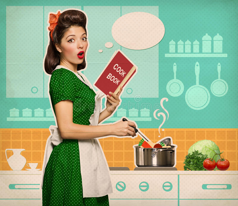Retro Woman In Kitchen: Retro Young Woman Cooking Soup In Her Kitchen Room Stock