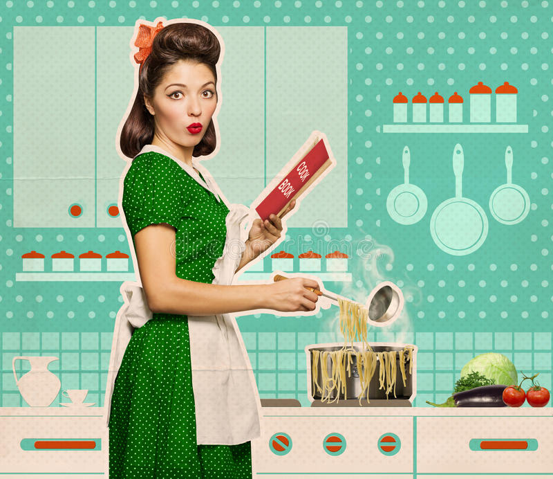 Retro young woman cooking spaghettei and reading recipe book in. Retro young woman cooking spaghetti and reading recipe book in her kitchen room on old paper stock photos