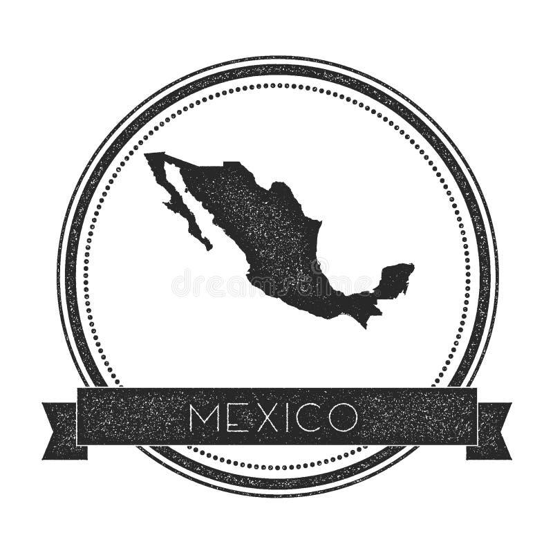 Retro zakłopotana Meksyk odznaka z mapą ilustracja wektor