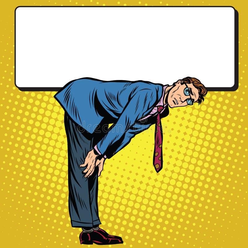 Retro zakenman onder het Aanplakbord wordt gebogen dat stock illustratie