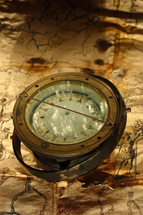 Retro zeevaartkompas stock afbeelding