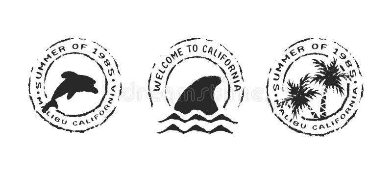 Retro zegel van het het strandetiket van Californië die voor de zomer wordt geplaatst stock illustratie