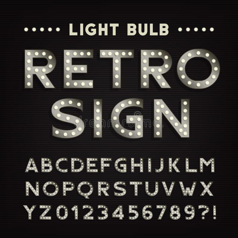 Retro- Zeichenalphabet Glühlampeart Buchstaben und Zahlen der Weinlese stock abbildung