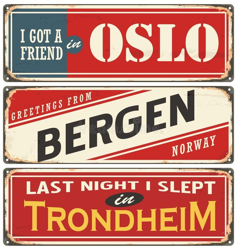 Retro- Zeichensammlung Norwegens lizenzfreie abbildung