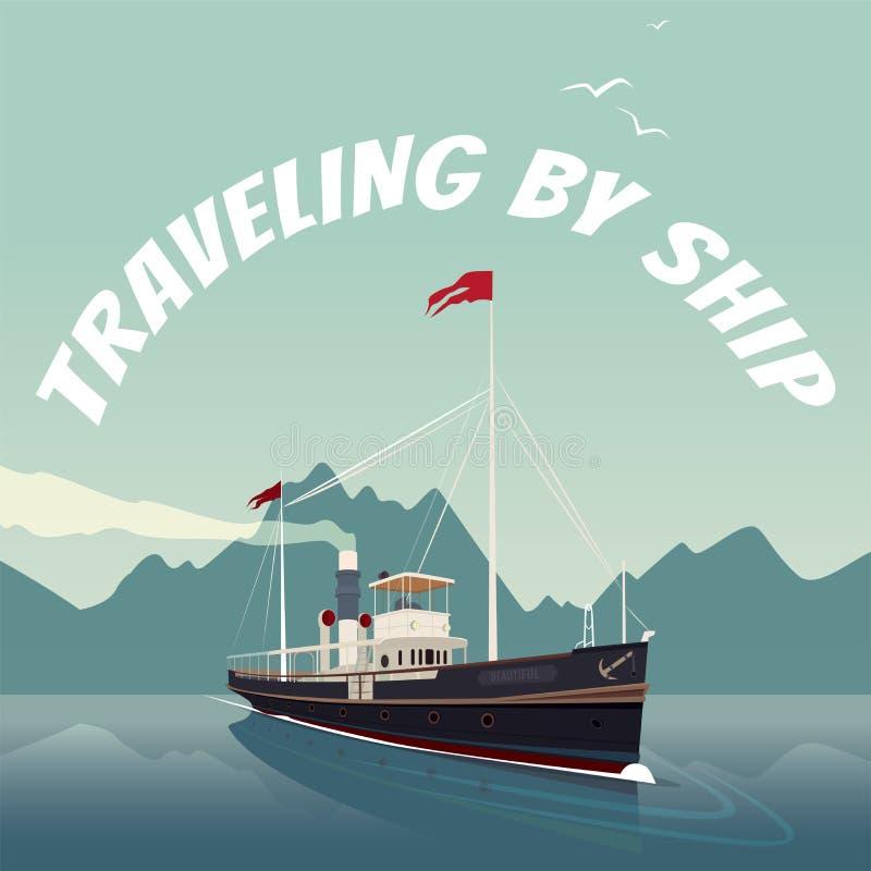 Retro zeilen van het cruiseschip op het overzees op duidelijke dag royalty-vrije illustratie