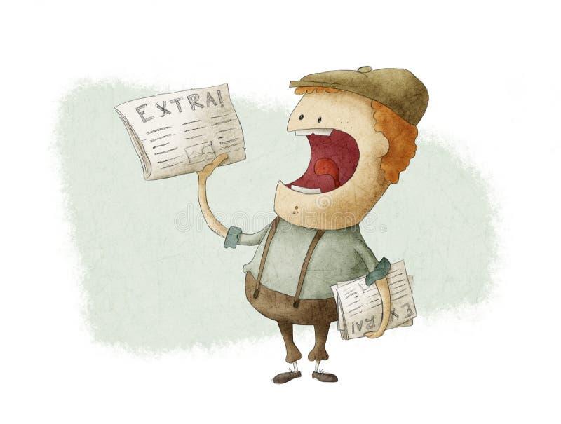 Retro Zeitungsjunge, der Zeitungen verkauft lizenzfreie abbildung
