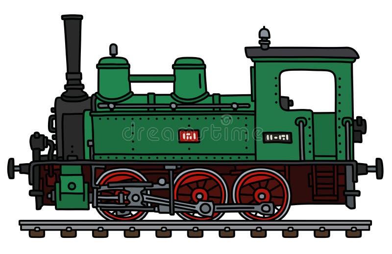 Retro zielona mała parowa lokomotywa ilustracji