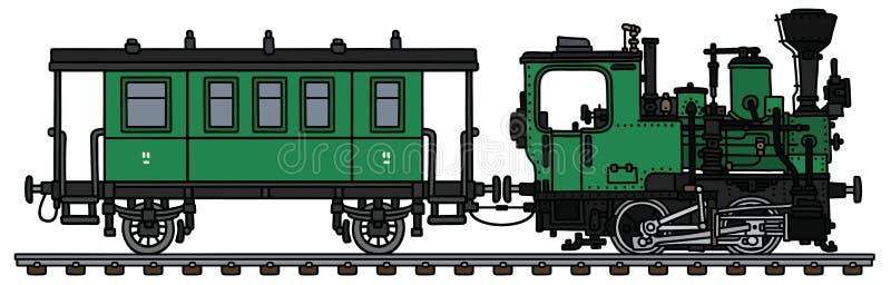 Retro zielony mały kontrpara pociąg royalty ilustracja