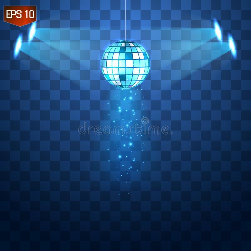 Retro zilveren vector, glanzend de clubsymbool van de discobal van het hebben van pret, het dansen die, DJ, nostalgische partij,  vector illustratie