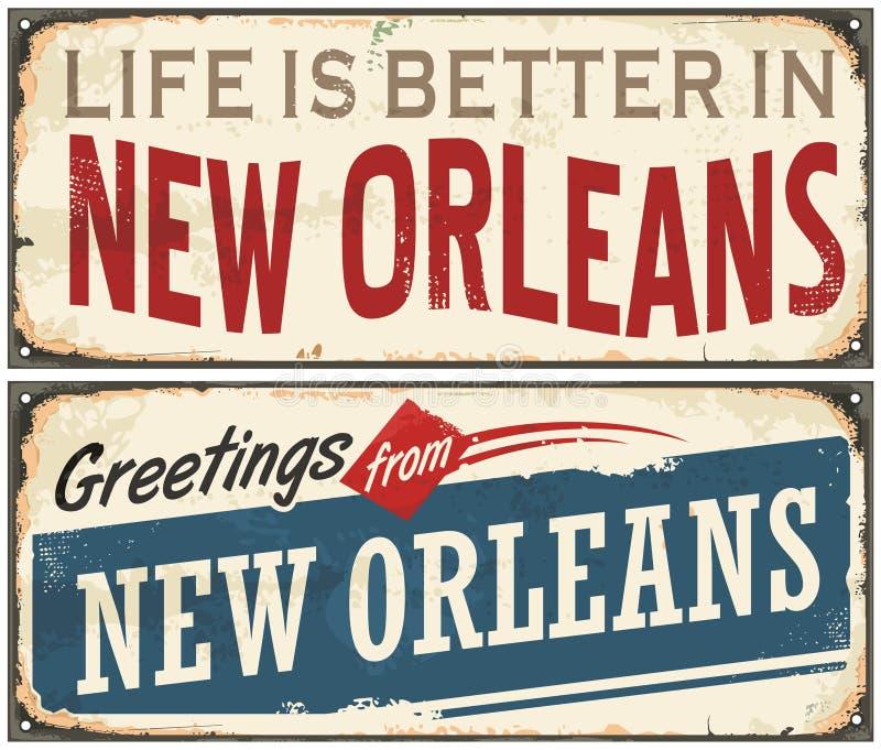 Retro- Zinnzeichen New Orleans Florida stock abbildung